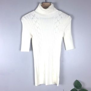 Cream Forever 21 Cableknit Short Sleeve Turtleneck